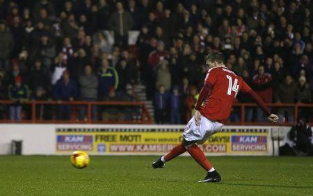 Nottingham Forest's Nicklas Bendtner has his penalty saved by Newcastle's Karl Darlow