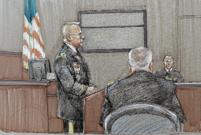In this courtroom sketch, prosecutors Col. Mike Mulligan, left, makes his closing arguments at the Lawrence William Judicial Center during the sentencing phase for Maj. Nidal Hasan, Wednesday, Aug. 28, 2013, in Fort Hood, Texas. The jury found Hasan unanimously guilty on the 13 charges of premeditated murder in the 2009 shootings at Fort Hood, and he is eligible for the death penalty. (AP Photo/Brigitte Woosley)