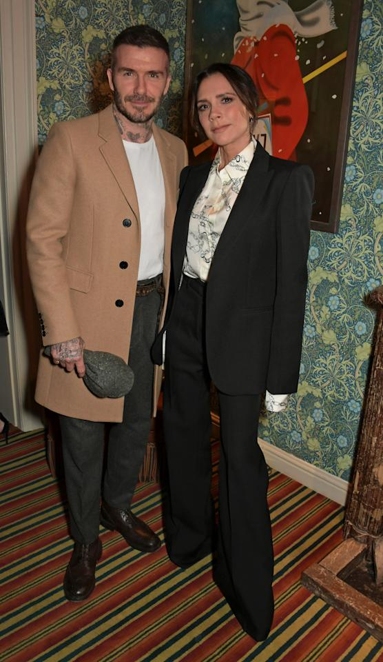 David Beckham and Victoria Beckham attend the Victoria Beckham x YouTube Fashion & Beauty after party at London Fashion Week hosted by Derek Blasberg & David Beckham at Mark's Club on February 17, 2019 in London, England.