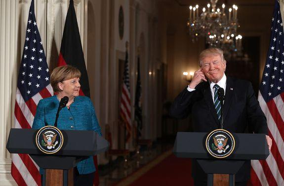 Best buds: Chancellor Merkel, left, with President Trump at the White House, March 17, 2017.