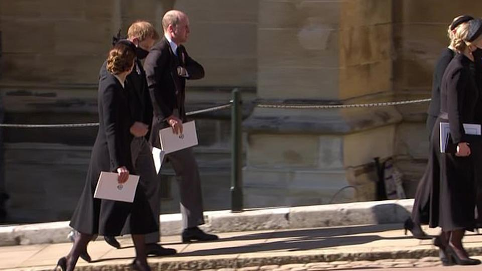 Prince Harry, Prince William and Kate Middleton at Prince Philip's funeral