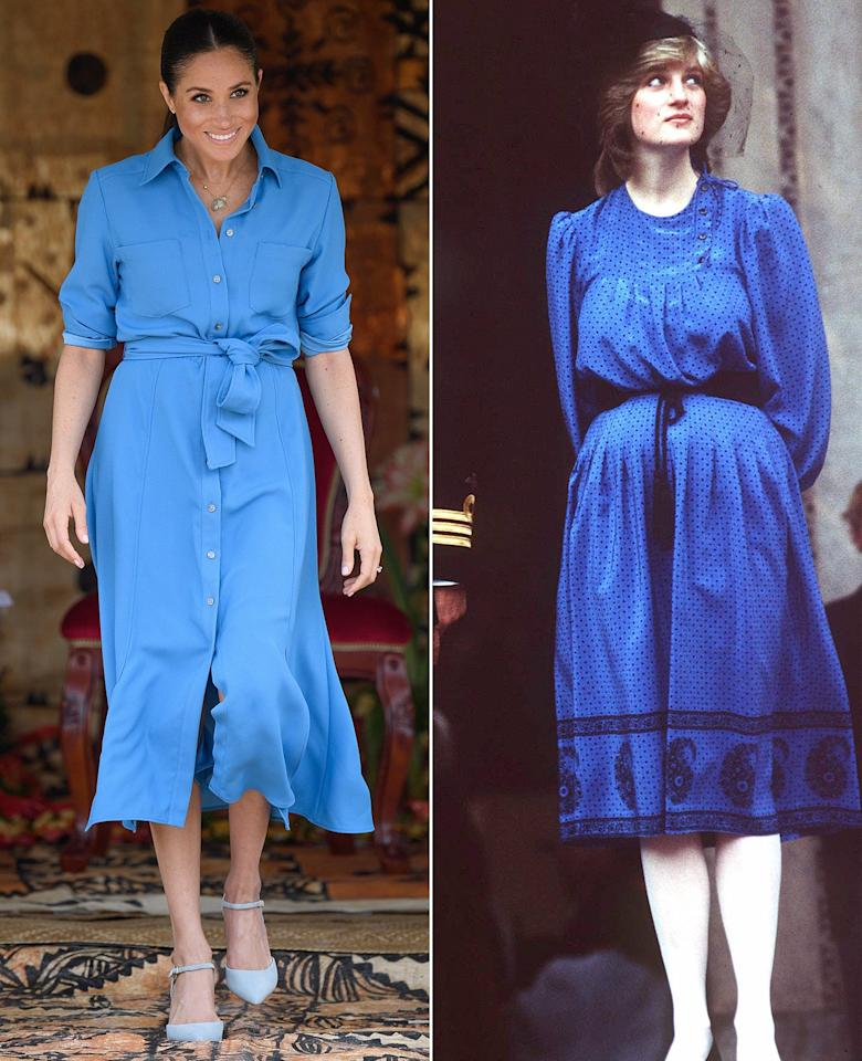 "The Duchess of Sussex stunned during an <a rel=""nofollow"" href=""https://people.com/royals/meghan-markle-prince-harry-visit-tupou-college-tonga/"">appearance in Tonga</a> back in October, wearing a sky blue shirt dress with a tie around her waist by <a rel=""nofollow"" href=""https://click.linksynergy.com/deeplink?id=93xLBvPhAeE&mid=40830&murl=https%3A%2F%2Fwww.veronicabeard.com%2FCary-Dress-2930.html&u1=PEO%2CMeghanMarkleVisitsForestinTongaDespiteZikaConcerns%E2%80%94andDebutsSecondDressoftheDay%2Cerinhilltimeinc%2CUnc%2CPos%2C6660782%2C201810%2CI"">Veronica Beard</a>. The look was reminiscent of Princess Diana, who wore a similar dress – same length and belted waist! – about a month after William was born in 1982."