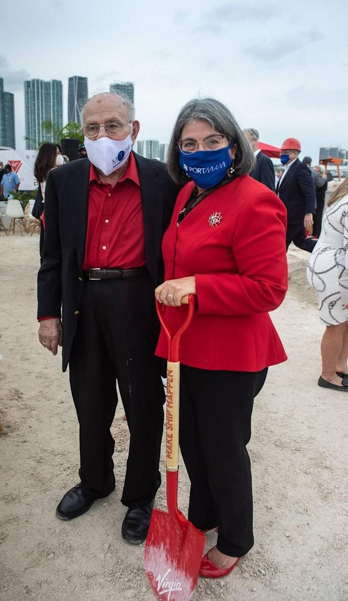 Paul Levine pauses for a photo with his daughter, Miami-Dade Mayor Daniella Levine Cava, during a ground-breaking ceremony at PortMiami on Jan. 12, 2021.