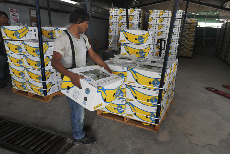 A worker stacks a box of freshly harvested Chiquita bananas to be exported, at a farm in Ciudad Hidalgo, Mexico, Friday, May 31 2019. If the tariffs threatened by United States President Donald Trump on Thursday were to take effect, Americans may see higher prices in grocery stores. The U.S. imports $12 billion of fresh fruits and vegetables from Mexico. (AP Photo/Marco Ugarte)