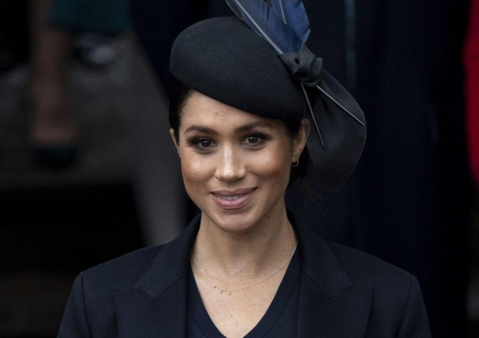 """<p>Meghan wore a barely there gold chain and hoops to Christmas Day services at St. Mary Magdalene church in 2018. </p><p><strong>More</strong>: <a href=""""https://www.townandcountrymag.com/society/tradition/g24689235/royal-family-christmas-photos/"""" rel=""""nofollow noopener"""" target=""""_blank"""" data-ylk=""""slk:Photos of the Royals Celebrating Christmas"""" class=""""link rapid-noclick-resp"""">Photos of the Royals Celebrating Christmas </a></p>"""
