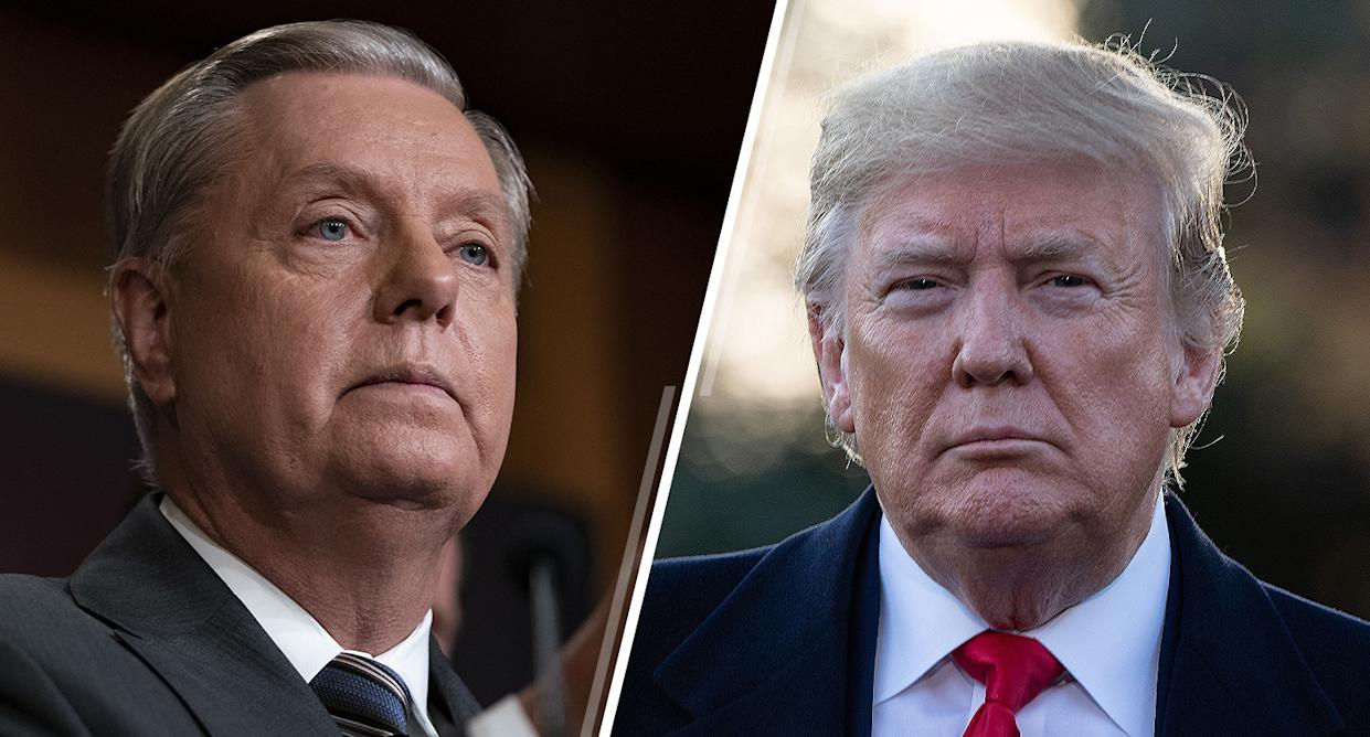 Sen. Lindsey Graham, R-S.C., and President Trump. (Photos: Andrew Harnik/AP, Nicholas Kamm/AFP via Getty Images)