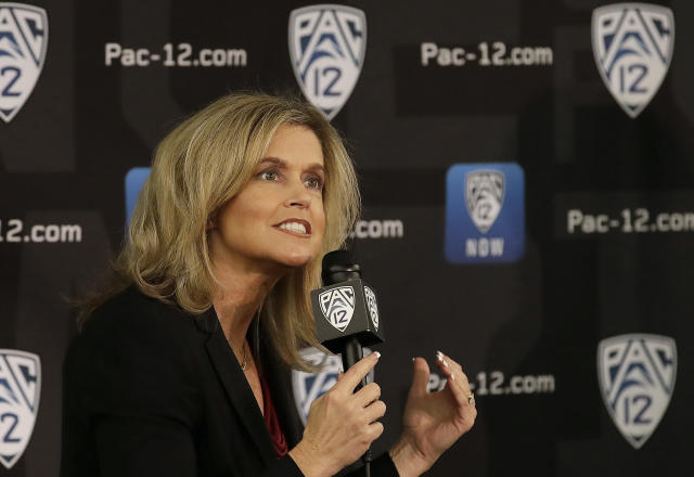 Arizona State head coach Charli Turner Thorne speaks during NCAA college basketball Pac-12 media day in San Francisco, Wednesday, Oct. 10, 2018. (AP Photo/Jeff Chiu)