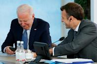 French President Emmanuel Macron with Biden at the G7 meet
