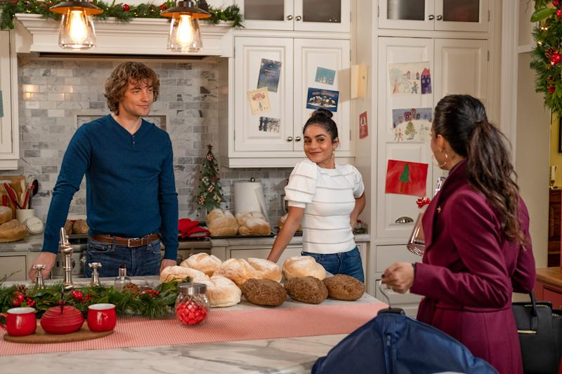 "Josh Whitehouse, Vanessa Hudgens and Emmanuelle Chriqui on the set of ""The Knight Before Christmas."" (Photo: Netflix/Brooke Palmer)"