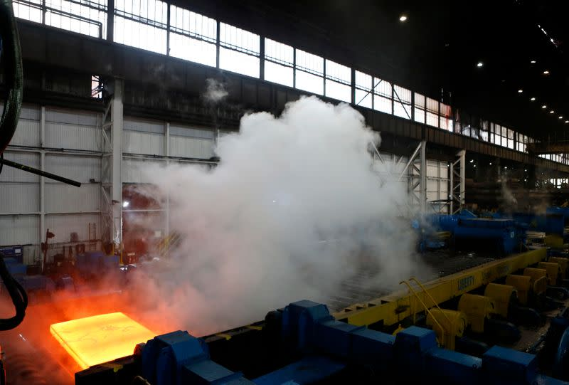 Steel is seen in the rolling mill following the recommissioning of the works by Liberty Steel Group at the Dalzell steel plant in Motherwell
