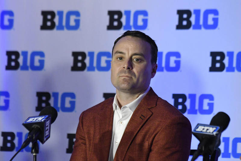FILE- In this Wednesday, Oct. 2, 2019, file photo, Indiana head coach Archie Miller listens to questions during the Big Ten conference NCAA college basketball media day in Rosemont, Ill. Miller is in his first year as coach of Hoosiers. (AP Photo/David Banks, File)