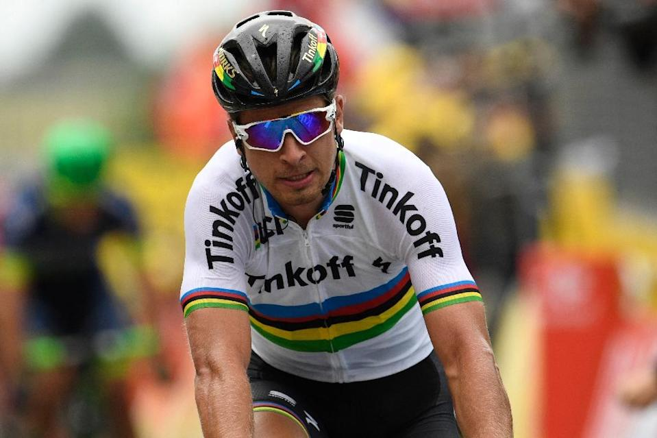 """After his stage victory Sunday, Peter Sagan lambasted his Tour de France colleagues for reckless racing: """"Now in the group everybody is riding like they don't care about their life -- it's unbelievable!"""" (AFP Photo/Lionel Bonaventure)"""