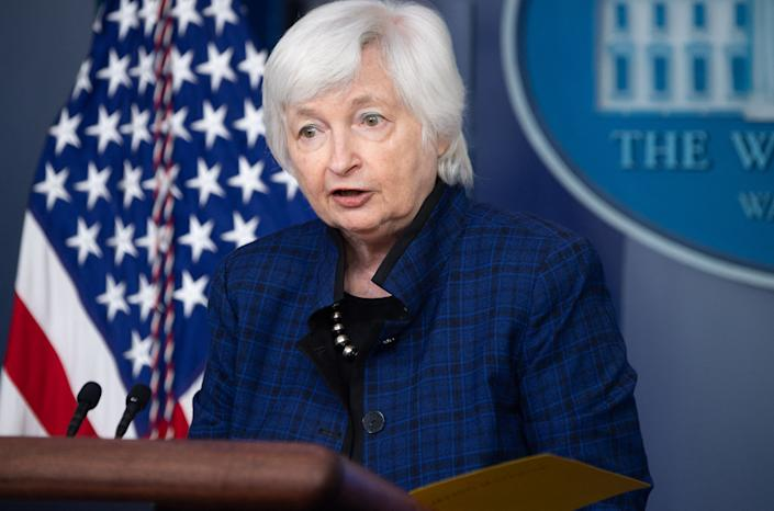 US Treasury Secretary Janet Yellen speaks during the daily press briefing on May 7, 2021, in the Brady Briefing Room of the White House in Washington, DC. (Saul Loeb/AFP via Getty Images)