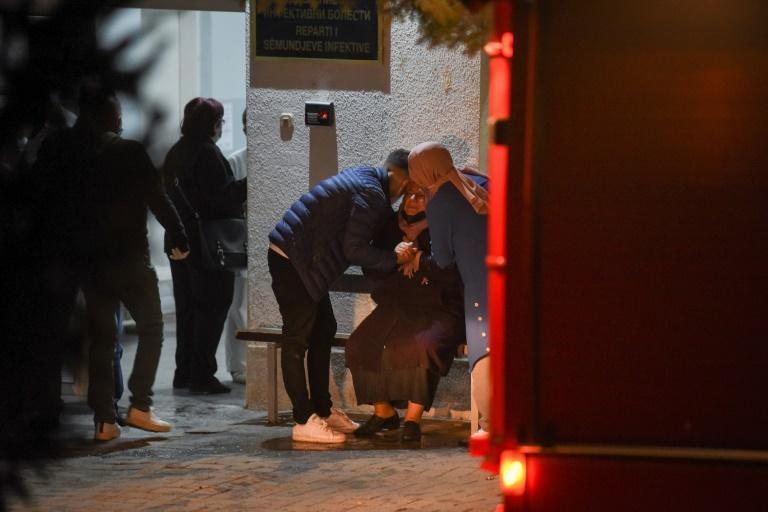 The fire broke out late on Wednesday following an explosion in a Covid-19 clinic in Tetovo in the northwest of the Balkan country (AFP/Arbnora MEMETI)