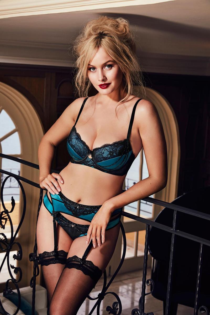The model also sizzles in a teal and lace lingerie set paired with some sexy suspenders looking drop dead gorgeous. Source: Bras N Things