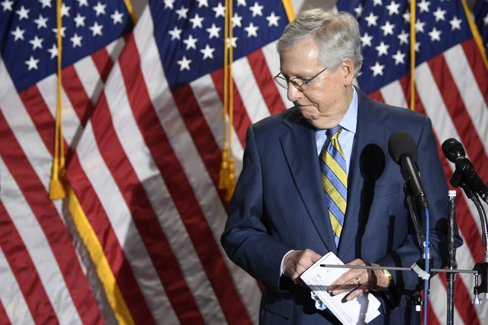 Senate Majority Leader Mitch McConnell of Ky., steps away from the microphone as he speak to reporters following the weekly Republican policy luncheon on Capitol Hill in Washington, Tuesday, June 9, 2020. (AP Photo/Susan Walsh)