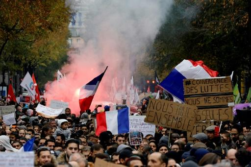 Several thousand people turned out for the march in Paris