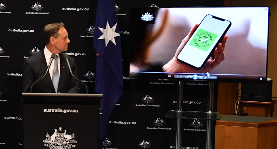 Greg Hunt introducing the COVIDsafe tracing app.