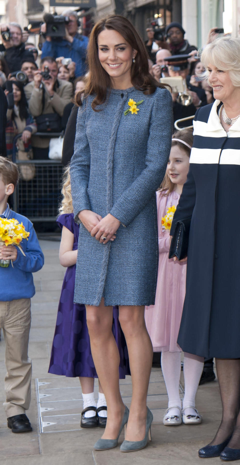 <p>Kate visited Fortnum and Mason wearing a blue tweed coat by Missoni paired with grey Rupert Sanderson pumps. </p><p><i>[Photo: PA]</i></p>