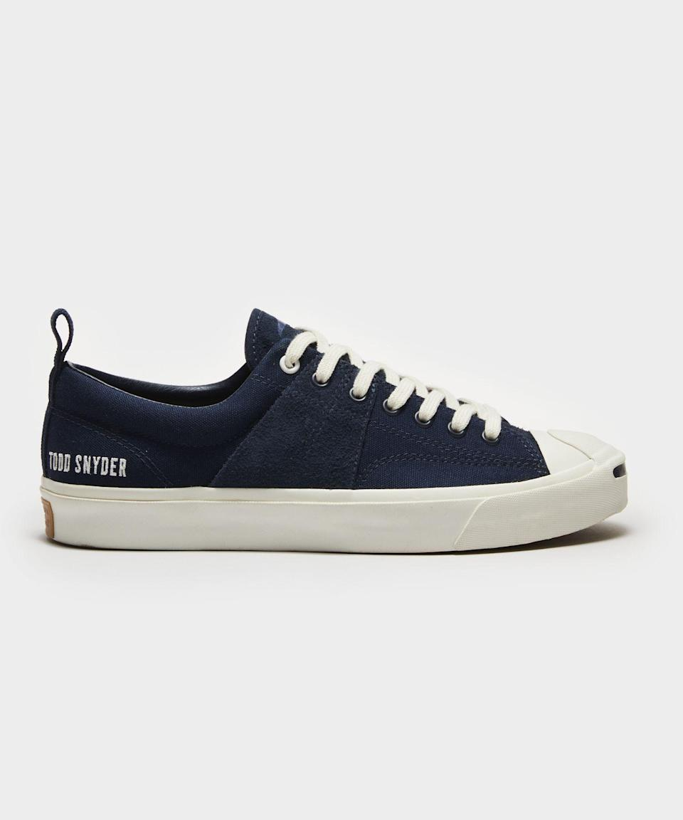 """<p><strong>Todd Snyder x Jack Purcell</strong></p><p>toddsnyder.com</p><p><strong>$100.00</strong></p><p><a href=""""https://go.redirectingat.com?id=74968X1596630&url=https%3A%2F%2Fwww.toddsnyder.com%2Fcollections%2Ftodd-snyder-x-jack-purcell%2Fproducts%2Fts-x-jack-purcell-midnavy-navy-egret-navy-egret-navy&sref=https%3A%2F%2Fwww.esquire.com%2Fstyle%2Fmens-fashion%2Fg36489674%2Ftodd-snyder-jack-purcell-collaboration-collection%2F"""" rel=""""nofollow noopener"""" target=""""_blank"""" data-ylk=""""slk:Shop Now"""" class=""""link rapid-noclick-resp"""">Shop Now</a></p>"""