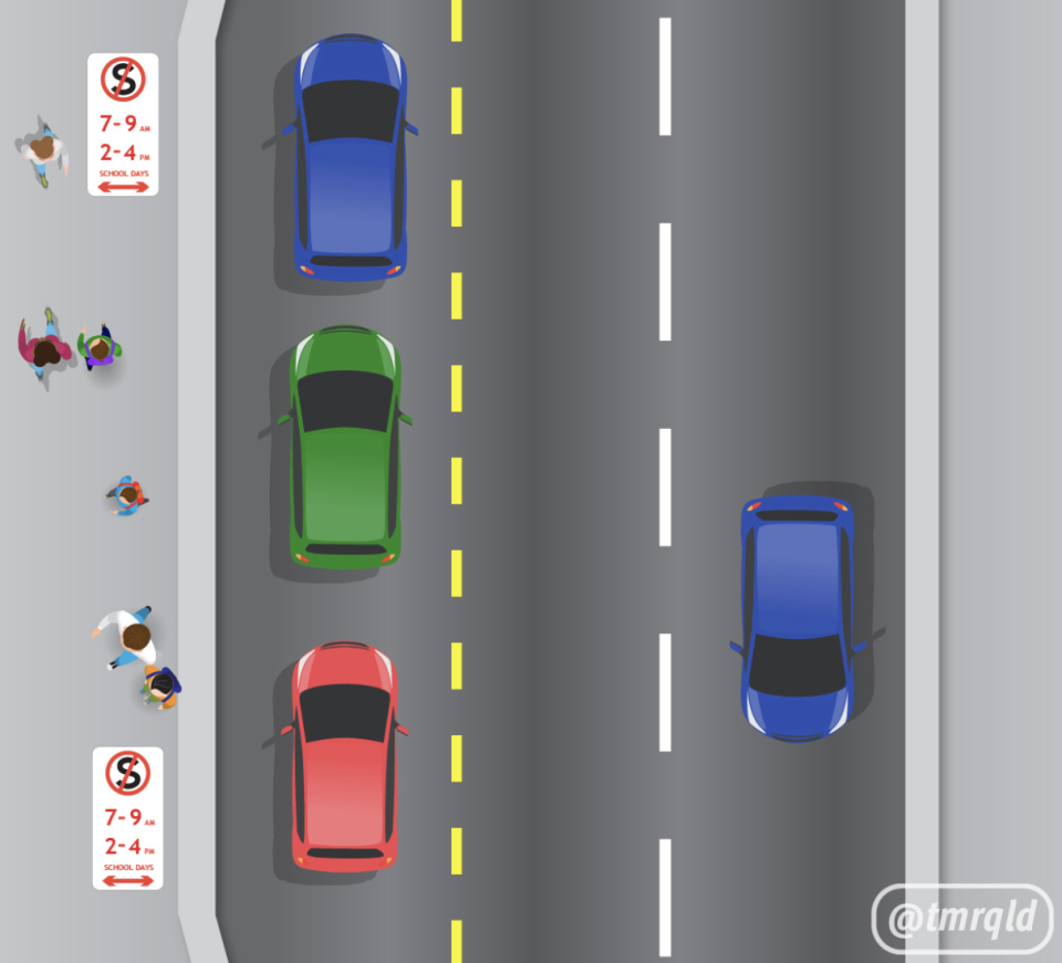 Three cars a pictured in a no-stopping zone outside a school.