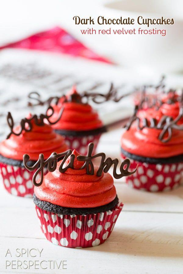 """<p>Ultra-moist dark chocolate cake gets a punch of color (and sweet flavor!) when topped with a vibrant red velvet frosting.</p><p><em><a href=""""https://www.aspicyperspective.com/chocolate-cupcake-recipe-red-velvet-frosting/"""" rel=""""nofollow noopener"""" target=""""_blank"""" data-ylk=""""slk:Get the recipe from A Spicy Perspective »"""" class=""""link rapid-noclick-resp"""">Get the recipe from A Spicy Perspective »</a></em></p>"""