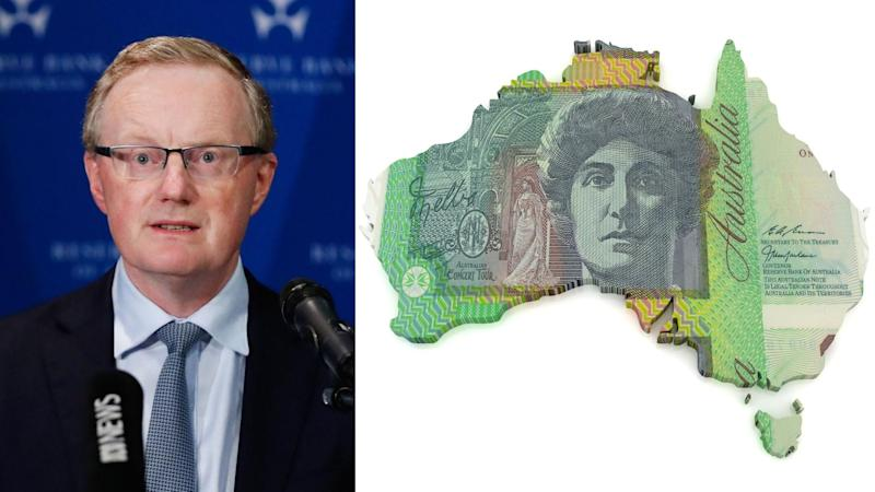Pictured on the left the RBA's governor Philip Lowe, on the right a map of Australia made from a $100 bill