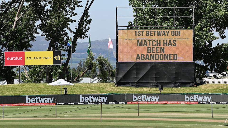 Pictured here, a sign showing an abandoned cricket match between South Africa and England in December 2020.
