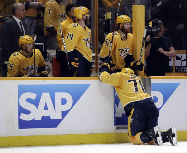 Nashville Predators defenseman P.K. Subban (76) crawls to the bench after being injured during the second period in Game 2 of an NHL hockey second-round playoff series against the Winnipeg Jets, Sunday, April 29, 2018, in Nashville, Tenn. (AP Photo/Mark Humphrey)