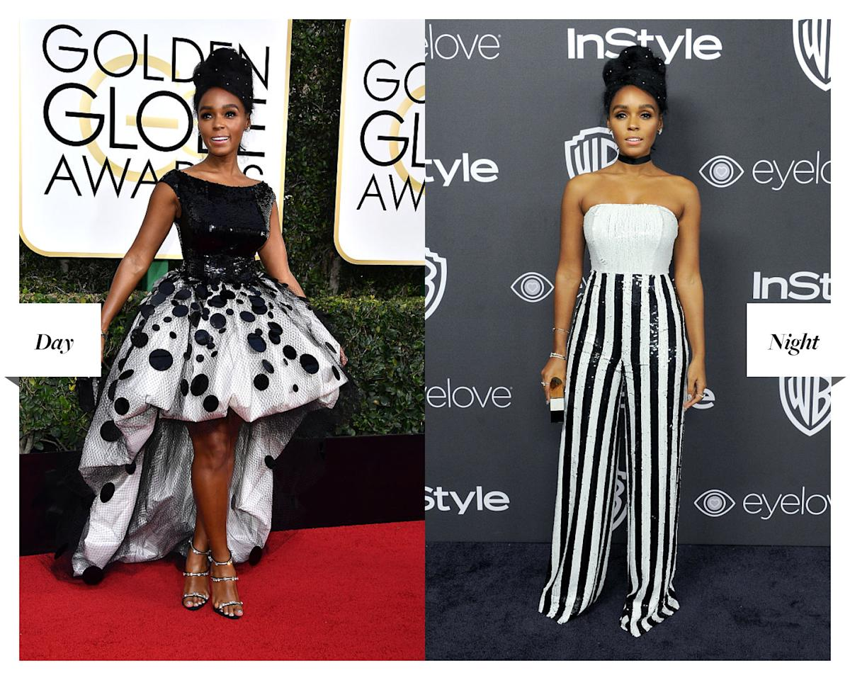 """<p>The """"Hidden Figures"""" and """"Moonlight"""" star went from single-handedly reviving the high-low hem in custom Armani Privé to owning the afterparty in this black-and-white Georges Chakra sequined jumpsuit. (Photos: Getty Images) </p>"""