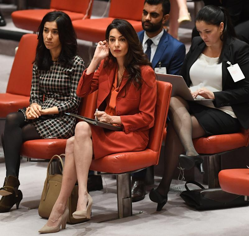 Amal Clooney attends a United Nations Security Council meeting on threats to international peace and security September 21, 2017 at the United States Mission in New York