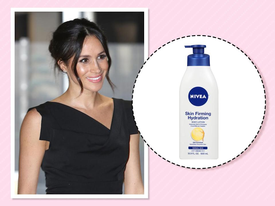 "<p>She's blessed with great hair and skin, but Markle <a href=""https://beautybanter.com/banter-babe-meghan-markle"" rel=""nofollow noopener"" target=""_blank"" data-ylk=""slk:told Beauty Banter"" class=""link rapid-noclick-resp"">told Beauty Banter</a> that she can't live without one drugstore body lotion. ""I use this religiously,"" she told the blog. ""It's honestly my favorite lotion on the market; it's so affordable and makes my skin look and feel amazing. I would buy a case of this at a time if I could find it."" (Photo: Getty Images)<br><strong><a href=""https://fave.co/2PojJff"" rel=""nofollow noopener"" target=""_blank"" data-ylk=""slk:Shop it"" class=""link rapid-noclick-resp"">Shop it</a>:</strong> $8, <a href=""https://fave.co/2PojJff"" rel=""nofollow noopener"" target=""_blank"" data-ylk=""slk:target.com"" class=""link rapid-noclick-resp"">target.com</a> </p>"