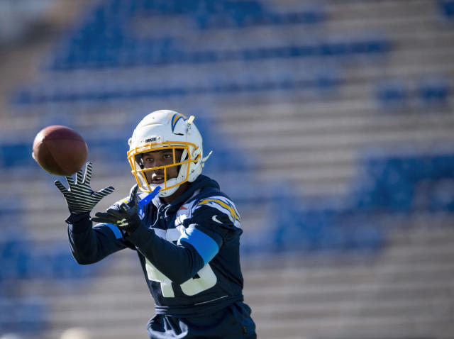 Los Angeles Chargers cornerback Michael Davis (43) practices during the Chargers high altitude practice at the Falcons Stadium at the United States Air Force Academy in Colorado Springs, Colo., on Tuesday, Nov. 12, 2019. The Chargers arrived in Colorado Springs on Monday and will spend the week practicing at the high altitude at the Air Force Academy in preparation for next week's game in Mexico City against the Kansas City Chiefs. (Chancey Bush/The Gazette via AP)