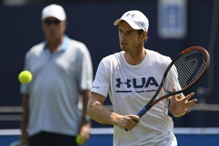 Britain Tennis - Aegon Championships - Queen's Club, London - June 19, 2017 Great Britain's Andy Murray with coach Ivan Lendl during practice Action Images via Reuters / Tony O'Brien Livepic