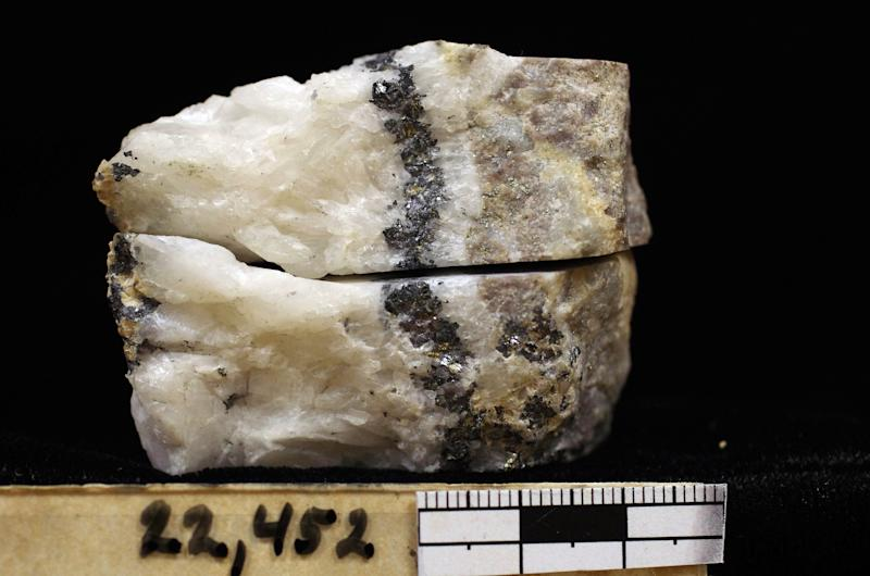 In this undated photo provided by the U.S. Geological Survey is a rock sample being analyzed in a Denver laboratory consisting of quartz, fine grain (microscopic) pyrite, galena and sphalerite. The USGS Mineral Resources program is looking at samples from previously mined ore that may contain critical minerals including rare earth elements. Across the West, early miners digging for gold, silver and copper had no idea that one day something even more valuable would be hidden in the piles of dirt and rocks they tossed aside. Now there's a rush in the U.S. to find key components of cellphones, televisions, weapons systems, wind turbines, MRI machines and the regenerative brakes in hybrid cars, a group of versatile minerals on the periodic table called rare earth elements and old mining tailings piles just might be the answer. (AP Photo/U.S. Geological Survey)