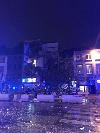 Emergency rescue personnel attend to the scene where a building has collapsed in Antwerp, Belgium January 15, 2018 in this picture taken from social media.   ANN SOPHIE VAN TRIEL/via REUTERS
