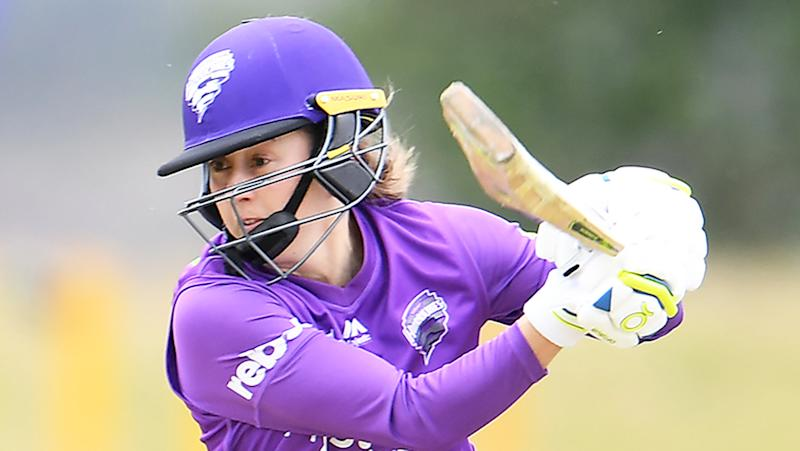 Emily Smith of the Hurricanes in action during the Women's Big Bash League match between the Sydney Sixers and the Hobart Hurricanes at Invermay Park on November 13, 2019 in Launceston, Australia. (Photo by Steve Bell/Getty Images)