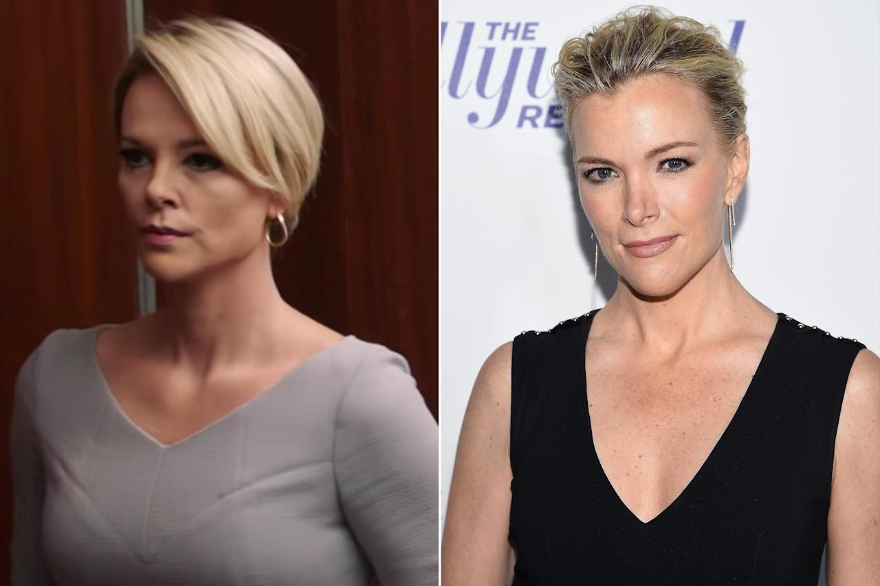 """This transformation made us (<a href=""""https://people.com/movies/twitter-cant-believe-how-much-charlize-theron-looks-like-megyn-kelly-in-bombshell-im-shook/"""">and the rest of the Internet</a>) do a serious double-take: Theron is the spitting image of former Fox News anchor Megyn Kelly in <em>Bombshell</em><em>.</em>  The film, which debuts in December, promises to be a """"revealing look inside the most powerful and controversial media empire of all time; Fox News, and the explosive story of the women who brought down the infamous man [Roger Ailes] who created it."""""""