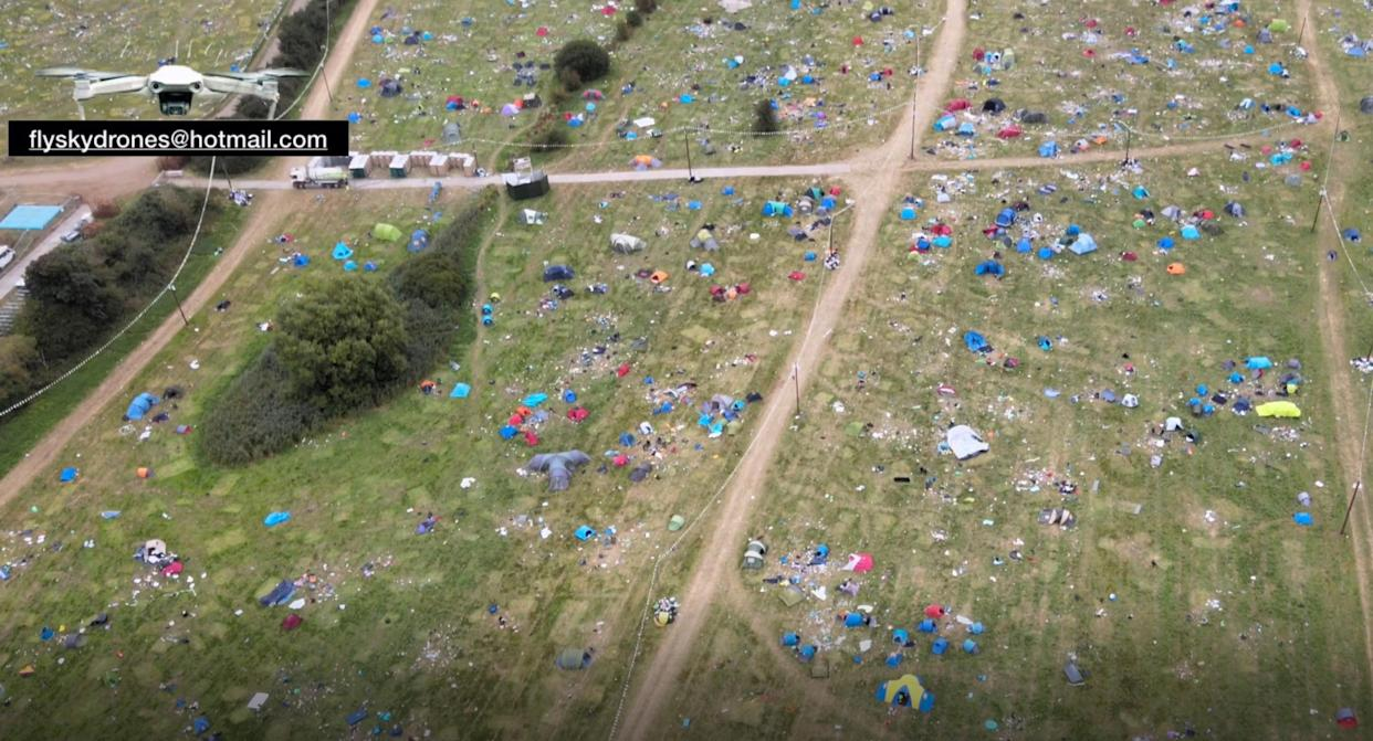 A drone was flown over the site at 5pm the day after the festival ended (flyskydrones@hotmail.com/PA)