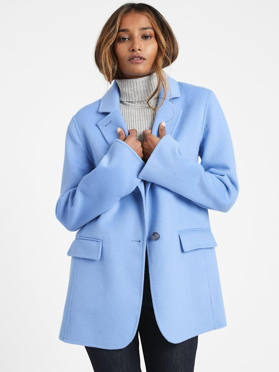 <p>The icy blue shade of this <span>Unlined Double-Faced Jacket</span> ($206, originally $229) is so nice for winter.</p>