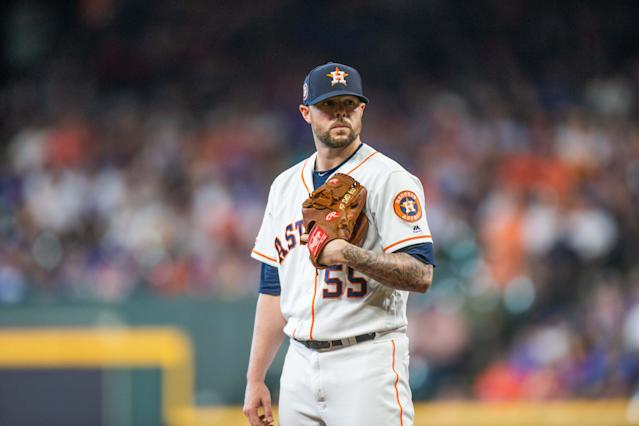 """<a class=""""link rapid-noclick-resp"""" href=""""/mlb/players/9358/"""" data-ylk=""""slk:Ryan Pressly"""">Ryan Pressly</a> is an elite reliever — and yet, his Yahoo rostered percentage doesn't match his production. (Photo by Juan DeLeon/Icon Sportswire via Getty Images)"""