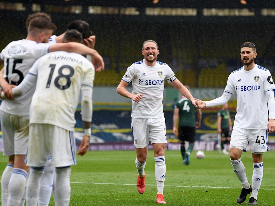 Leeds players celebrate their victory over Tottenham (Getty Images)