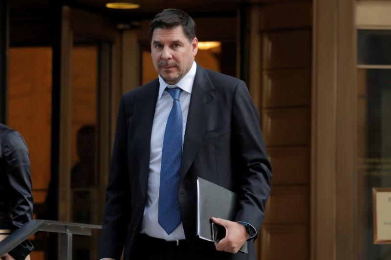 Sprint CEO Marcelo Claure departs a hearing at Manhattan Federal Court in New York City