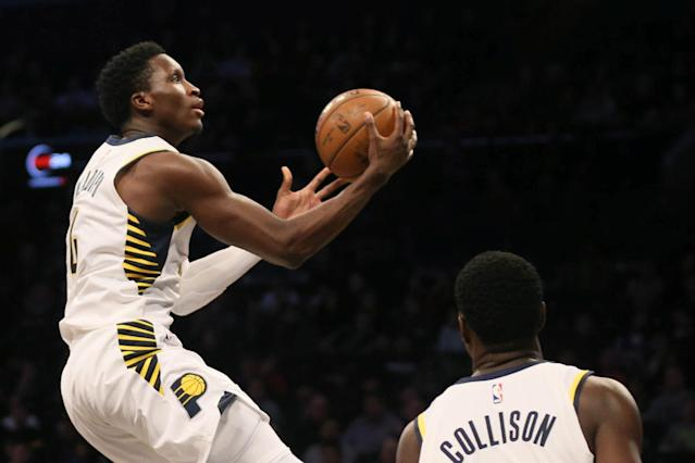 FILE PHOTO: Dec 17, 2017; Brooklyn, NY, USA; Indiana Pacers guard Victor Oladipo (4) scores against Brooklyn Nets in the second quarter at Barclays Center. Mandatory Credit: Nicole Sweet-USA TODAY Sports/File Photo