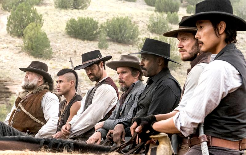 Despite an all-star cast of Denzel Washington, Chris Pratt and Ethan Hawke, 'The Magnificent Seven' is a 'predictable slog,' writes Us Weekly film critic Mara Reinstein