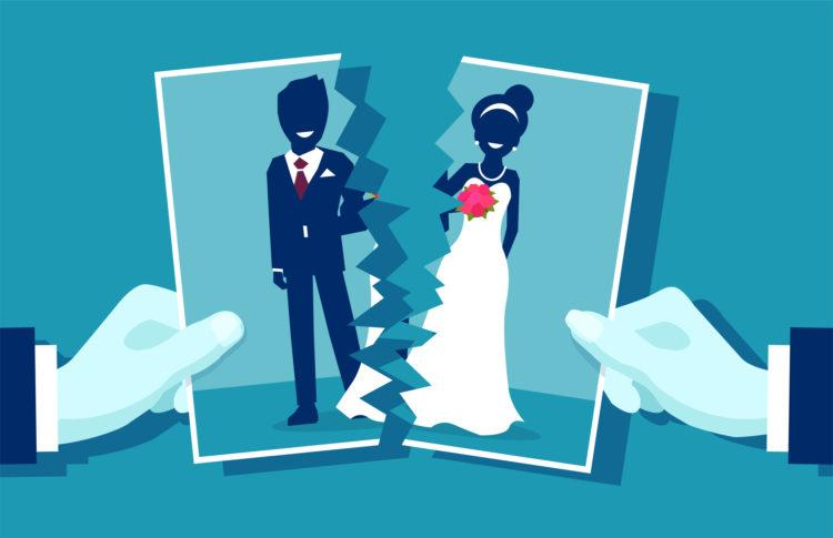 Crisis in relationship and divorce concept. Group photo of young married couple cut in half as symbol of conflict, unhappy love. Vector illustration.