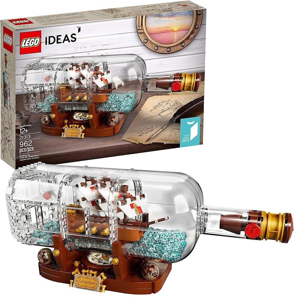 """<p><strong>LEGO Ideas</strong></p><p>amazon.com</p><p><strong>$139.99</strong></p><p><a href=""""https://www.amazon.com/dp/B078VVLQ6J?tag=syn-yahoo-20&ascsubtag=%5Bartid%7C10054.g.34039580%5Bsrc%7Cyahoo-us"""" rel=""""nofollow noopener"""" target=""""_blank"""" data-ylk=""""slk:Buy"""" class=""""link rapid-noclick-resp"""">Buy</a></p><p>There comes a point in every grown human's life when, after suffering countless disappointments and setbacks, they ask themselves, <em>Should I just phone it in and start building ships in bottles? </em>The answer is obviously a resounding """"yes."""" For a low-stakes starting point that won't result in broken glass and splintered wood, look to Lego.</p>"""