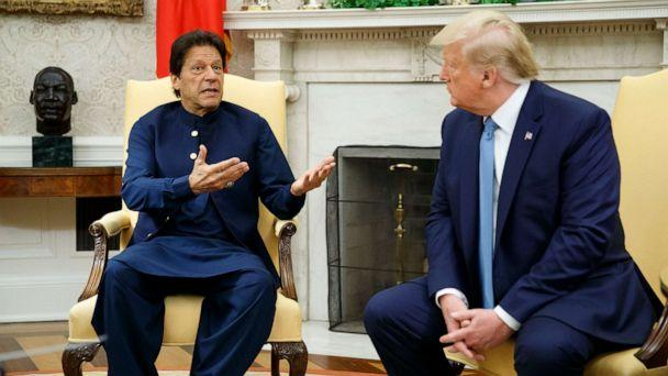 PHOTO: Pakistani Prime Minister Imran Khan speaks during a meeting with President Donald Trump in the Oval Office of the White House, July 22, 2019, in Washington. (Alex Brandon/AP Photo)