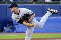 New York Yamkees starting pitcher Michael King throws to a Toronto Blue Jays batter during the first inning of a baseball game, Thursday, June 17, 2021, in Buffalo, N.Y. (AP Photo/Jeffrey T. Barnes)