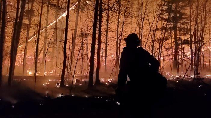 A firefighter is silhouetted as Cameron Peak Fire, the largest wildfire in Colorado's history, burns outside Drake, Colorado, US.